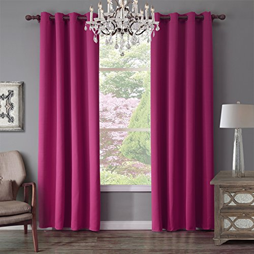 Thermal Insulated Blackout Curtains Gazebo Curtains - Extra Long 52 x 95 Inch Fuschia 1 Panel (Dark Pink Gingham)