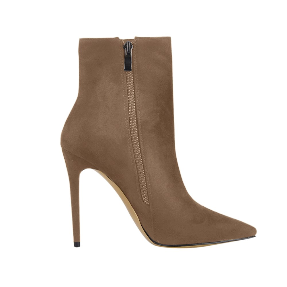 onlymaker Pointed Toe Ankle Boots for High Women Side Zipper Dress High for Heels Shoes Booties B078LYZN74 8 B(M) US|Camel Suede b99c59