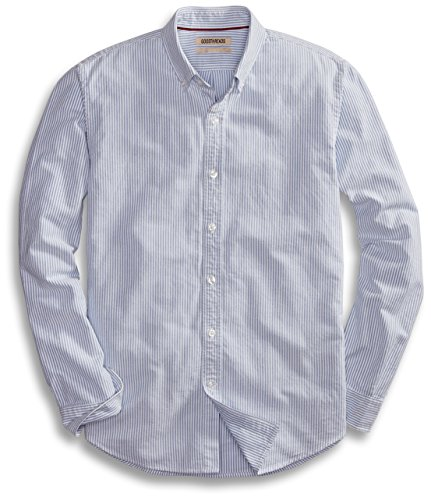 (Goodthreads Men's Standard-Fit Long-Sleeve Stripe Oxford Shirt, Blue/White, Medium)