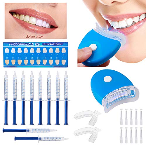 Teeth Whitening Kit - Coleli Teeth Whitening Gel Kit with LED Accelerator Light Set Stain Remover Non Sensitive - 10 of 3 ml Gel Syringes, 2 Of Tray for Tooth Whitening (Purple)