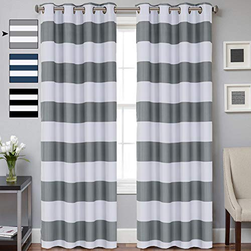 mmet Top Window Curtain Panel Window Treatment Draperies Grey Window Treatment Thermal Insulated Blackout Curtain for Living Room 2 Panels 84 inch Gray / White Striped Pattern ()