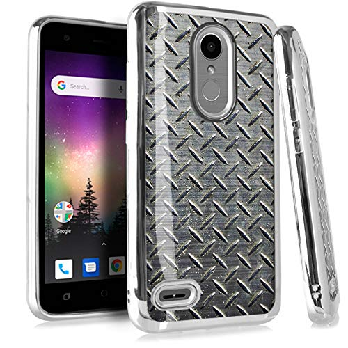 (Compatible LG Rebel 4 | Rebel 3 | Rebel 2 Case Electroplated Chrome TPU Brushed Textured Hybrid Phone Cover (Metal Crosshatch Print))