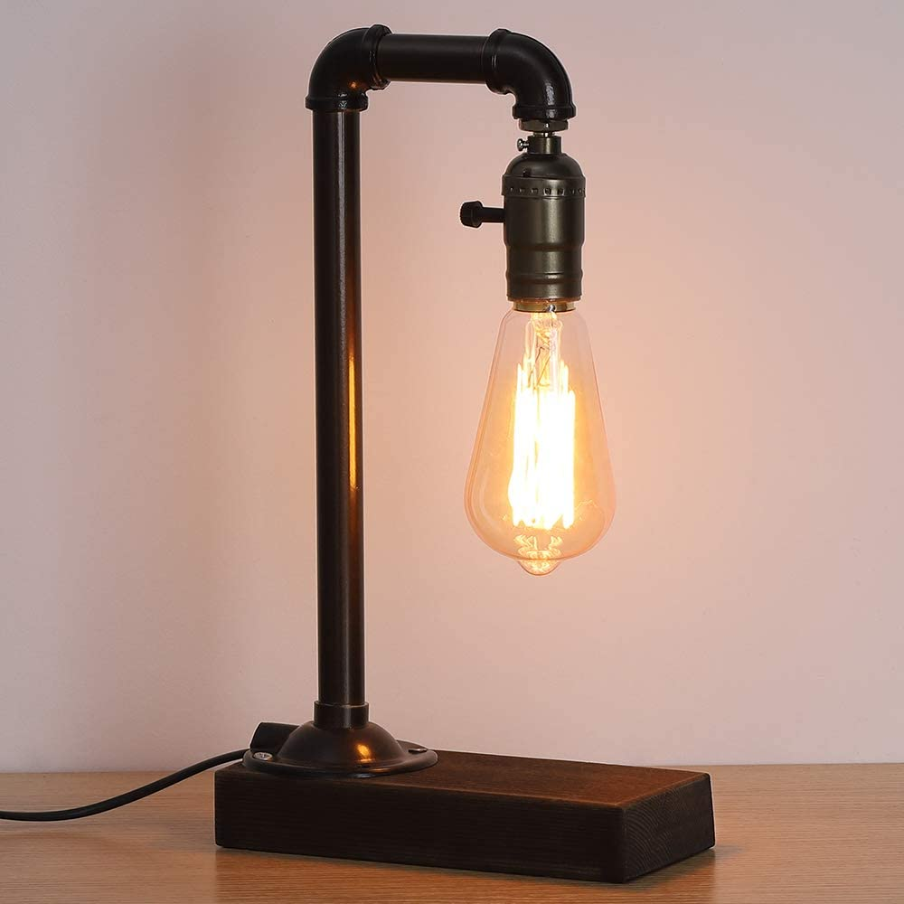 HAITRAL Retro Vintage Table Lamp- Industrial Loft Style Steam Punk Lamp with Wood Base Iron Piping Desk Lamp for Bedside, Living Room, Kitchen, Café, Store, Pub, Dorm (Bulb Not Included)