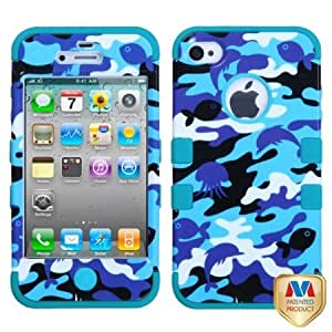 Bloutina MyBat IPHONE4AVHPCTUFFIM060NP Rugged Hybrid TUFF Case for iPhone 4 - Retail Packaging - Aquatic Camouflage/Tropical...