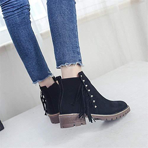 Zapatos Bajo Mujeres Casual Áspero Sed Y Cremallera Eu Para Mujer Tacón Lateral Cortas S Cilindro Botas 35 Borlas n0O4qZ
