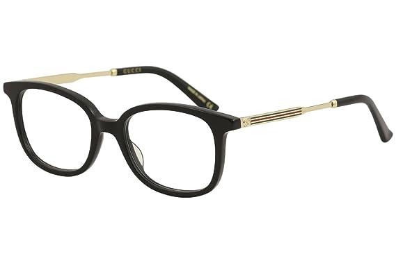e92fe39e107 Amazon.com  Gucci GG 0202 O- 001 BLACK GOLD Eyeglasses  Clothing