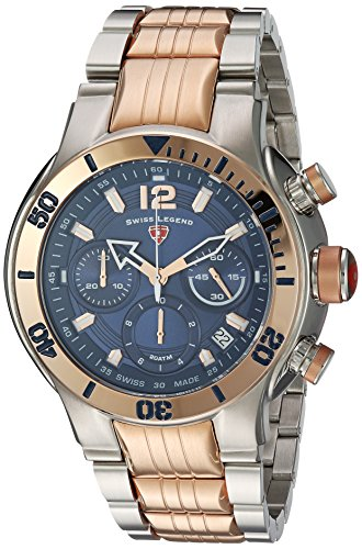 Swiss Legend Men's 'Sharkarma' Quartz Stainless Steel Casual Watch, Color:Two Tone (Model: 14083SM-SR-33)