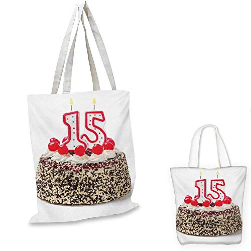 15th Birthday small clear shopping bag Chocolate Cherry Tasty Cake with Number Candles Surpise Party Theme Image sloth shopping bag Multicolor 14