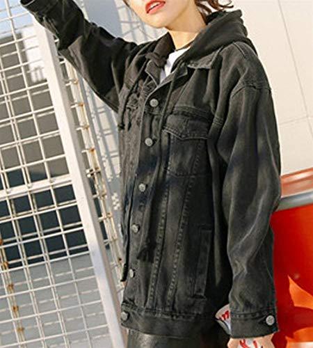 Con Mantello Jeans Giaccone Giacca Moda Schwarz Denim Cappuccio Lunga Coat Casual Primaverile Button Jacket Autunno Eleganti Manica Donna Outerwear Tasche Confortevole xqwF7g1