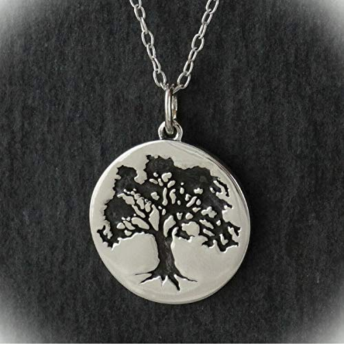 Oak Tree Charm Statement Chunky Pendant Rhinestone Necklace for Women Silver Round Etched Disc Trees Gift