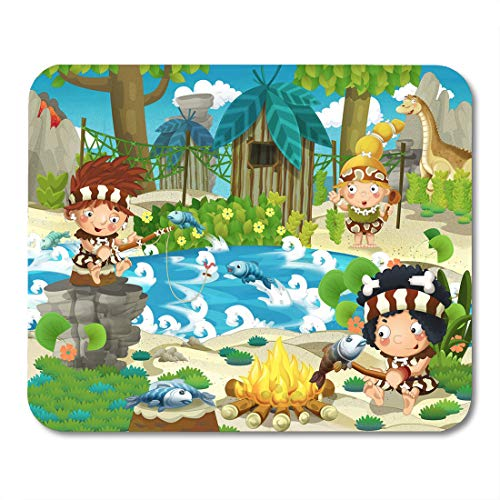 Boszina Mouse Pads Caveman Ancient The Stone Age for Children Animal Jungle Mouse Pad 9.5