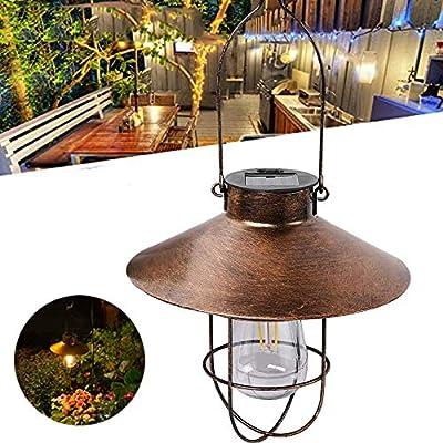 Solar Lantern Outdoor Hanging, Waterproof Solar Garden Lantern Lights with Hat Decorative for Patio, Backyard, Courtyard, Landscape - Filament Bulb (Bronze)