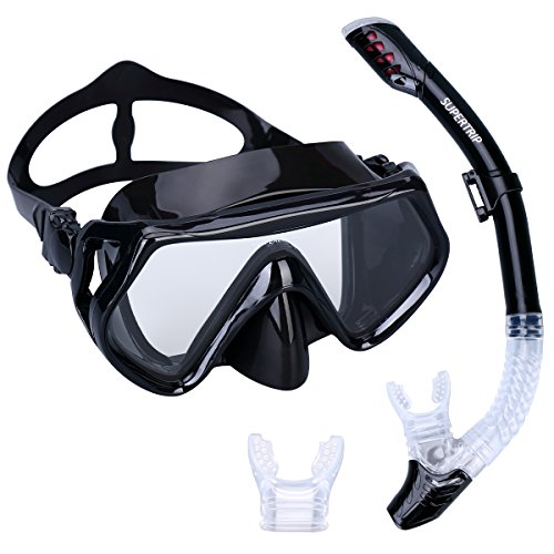 Supertrip Scuba Diving Snorkeling Freediving Mask Snorkel Set black