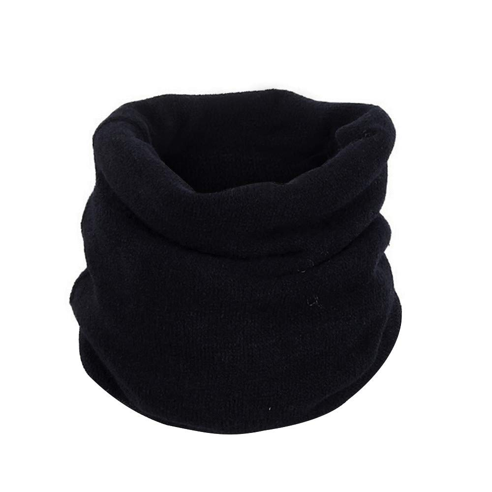 Clearance WUAI Knitted Scarf Headwear Headwrap Solid Warm Knit Cowl Neck Cotton Scarf Shawl Circle Scarf Windproof(Black,Free Size)