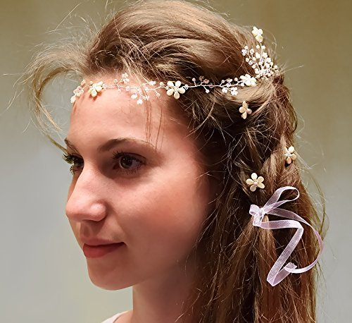 Wedding bridal hair vine with pastel cream white bead flowers