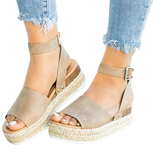 Toe Ankle Strap Wedge - Ru Sweet Womens Wedges Sandal Open Toe Ankle Strap Trendy Espadrille Platform Sandals Flats