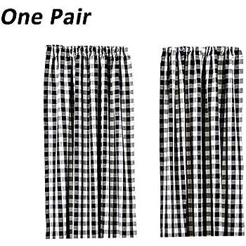 Amazon Com Lghome Black And White Buffalo Check Curtains