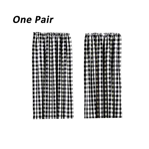 Plaid Window Curtain - LGHome Buffalo Check Curtains, Plaid Window Treatment, Kitchen Window Panels, Black and White, 36x36inch, Pack of 2
