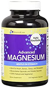 Advanced MAGNESIUM (by InnovixLabs). Highly Bioavailable Bisglycinate + Malate Formula, 150 Vegetarian Capsules. 200 mg Magnesium per serving.