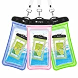 Waterproof Case, 3 Pack iOrange-E Clear Universal Waterproof Case, Transparent Dry Bag, Pouch, Snowproof Dirtproof for iPhone 6S Plus SE 5S, Samsung Galaxy S7 S6, Note 5, Nexus 6P - Blue, Green, Pink