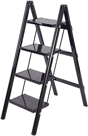 HYDT Escalera de Escalera Negra Plegable Antideslizante para Adultos, taburetes de Escalera de 2/3/4, Ideal para Cocina/baño, soporta hasta 150 kg, aleación de Aluminio: Amazon.es: Hogar