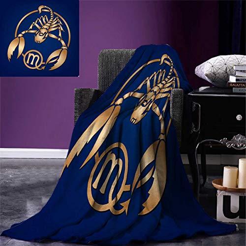 "Zodiac Scorpio Warm Microfiber All Season Blanket Horoscope Symbol in a Circular Design on a Navy Blue Background Print Artwork Image 62""x60"" Navy Blue Pale Brown"
