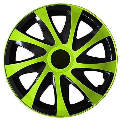 (tamaño a elegir) Tapacubos/Tapacubos DRACO bicolor (Negro y verde) apto