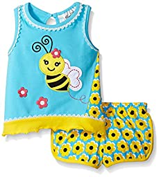 Rare Editions Little Girls\' Toddler Bumblebee Short Set, Turquoise/Yellow, 4T