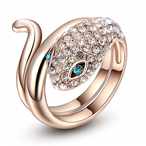 Rose Gold Plated Green Crystal Eyes Animal Snake Ring for Woman Fashion Jewelry (9) (Cobra Ring)