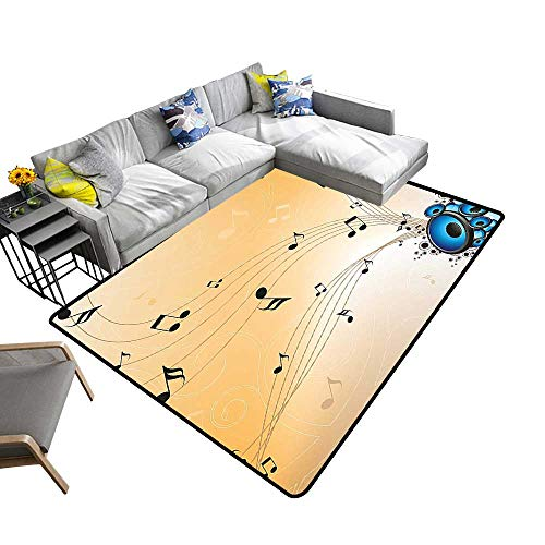 Modern Area Rug with Non-Skid Melodi Flying Not Speakers and Black Blue Sand Brown Environmental Protection Fabric 6' X 9'