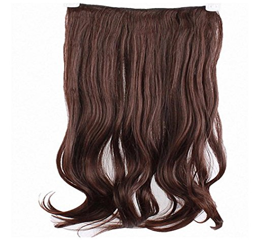 Price comparison product image Leoy88 1pc Long Curl Curly Wavy Hair Extension Clip-on (Dark Brown)