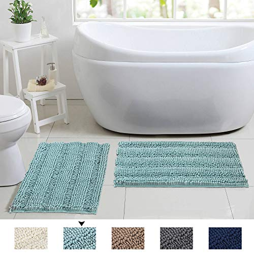Flamingo P Soft Non Slip Absorbent Bath Rugs Chenille Bath Mats (Duck Egg Blue Size: W17 x L24) 2 Pieces