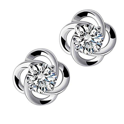 Charm 10k Pierced Basketball - Double FNT Women Fashion Polished Pierced Clover Earrings Stud