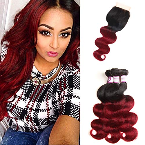 Racily Hair Body Wave Ombre Brazilian Hair with Closure Black to Maroon Ombre Extensions Sew In Human Hair Products for Black Women (18