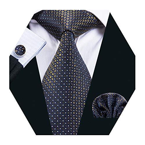 (Gold Tie Silk Check Hanky Men Cufflinks Necktie Set Woven Wedding Business)