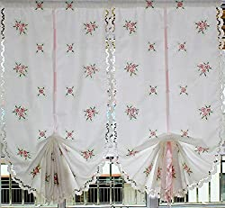 Pink Flower Embroidery Balloon Curtain Featured Linen Window Sheer