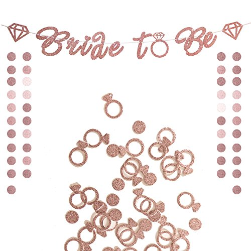 Glitter Rose Gold Bride to Be Banner Sign Ring Confetti & Circle Dots Glitter Paper Garland for Bride Shower Engagement Party Bridal Shower, Bachelorette Party Decorations