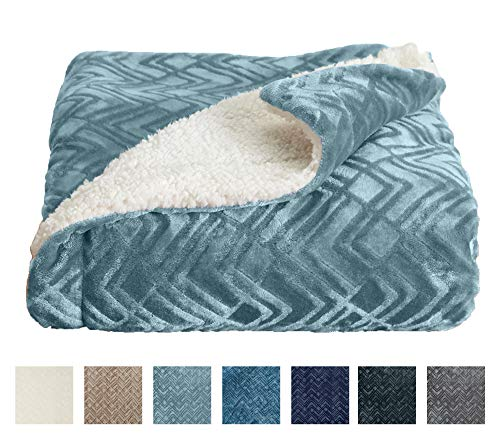 Home Fashion Designs Premium Reversible Sherpa and Fleece Velvet Plush Blanket. Fuzzy, Soft, Warm...