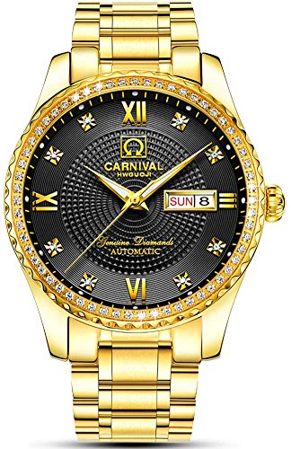Men's Analog Luminous and Bezel Inlay Rhinestones Fashion Business Automatic Mechanical Calendar Watch (Gold Black) (Bezel Calendar Wrist Watch)