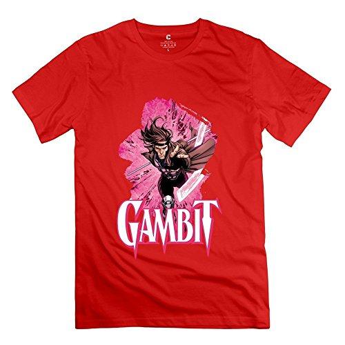 (Men's Gambit X Men Screw Neck T Shirts Size L Red)