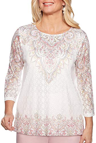 Alfred Dunner Women's Society Page Scroll Border Knit Top (Large)