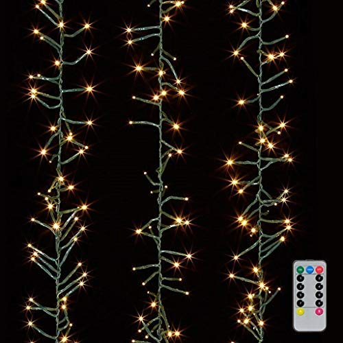 Christmas Cluster Lights 10 Foot Garland with 300 Warm White Lights on Green Wire with Remote Control - Raz Exclusive Twinkle Function ()