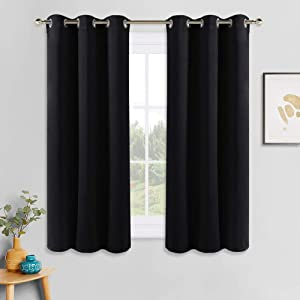 PONY DANCE Bedroom Blackout Curtains - Thermal Insulated Curtain Panels Window Treatments Grommet Top Light Blocking Home Decoration Window Draperies for Living Room, 42 by 54 inches, Black, 1 Pair
