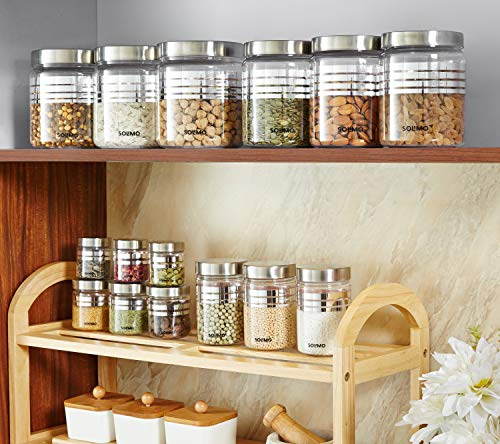 Amazon-Brand-Solimo-Plastic-Container-Set-15-Pieces-Silver-with-Stainless-Steel-Lid-Wide-Mouth