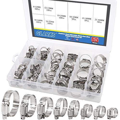 Steel Stainless Worm - Glarks 65-Pieces 304 Stainless Steel Adjustable 8-44mm Range Worm Gear Hose Clamps Assortment Kit, Fuel Line Clamp for Water Pipe, Plumbing, Automotive and Mechanical Application