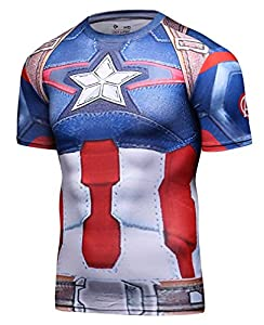 Red Plume Men's Compression Sports Fitness Shirt, Armor America Teamleader T-Shirt (L, America R)