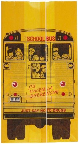 Bagcraft Papercon 300202 Dubl Wax SOS Lunch Bag, Yellow/Red/Black School Bus, 11