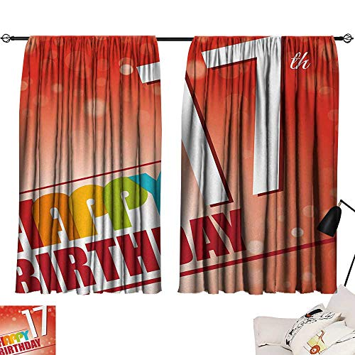 Jinguizi 17th Birthday Drapes/Draperies Sun Beams Abstract Style Backdrop with Colorful Birthday Theme Image Insulated Darkening Curtains Vermilion and Red W55 x L39 by Jinguizi (Image #6)