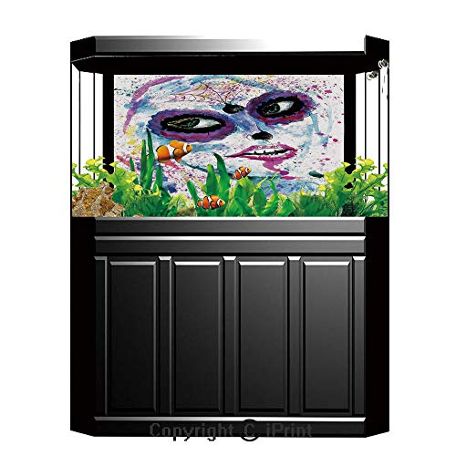 Aquarium Decoration Background,Girls,Grunge Halloween Lady with Sugar Skull Make Up Creepy Dead Face Gothic Woman Artsy,Blue Purple,Photography Backdrop for Photo Props Room,W48.03