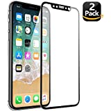 iPhone X Screen Protector, 3D Curved Soft Edge Full Coverage Anti-Scratch HD Tempered Glass Screen Cover Film for Apple iPhone 10, 5.8 Inch Black, 2 Pack